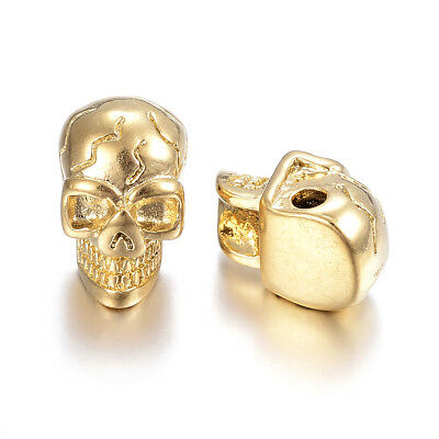 10pcs 304 Stainless Steel Skull Metal Beads Gold Plated Loose Spacers Craft 14mm