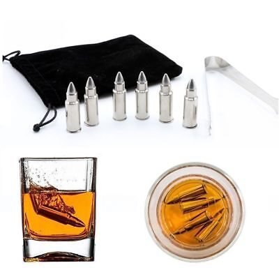 6pcs Bullet Shaped Icy Stone Whiskey Ice Cube Stainless Steel Wine Chilling