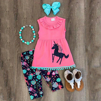 US Stock Kids Baby Girls Outfits Set Unicorn Clothes Tops T-shirt Dress + Pants