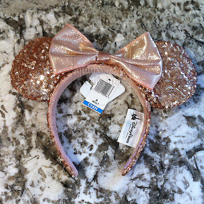 Disney Parks Rose Gold Minnie Ears Champagne Copper Sequin Headband ADULT