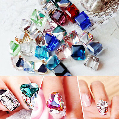 100X Faceted Square Cube Glass Rhinestone Beads Nail Art Decor DIY Jewelry Acces