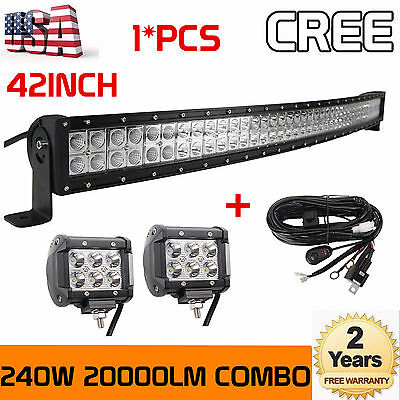 42inch 240W CREE Combo Curved Led Light Bar+ 2X 4inch Flood Work Pods+Wiring Kit
