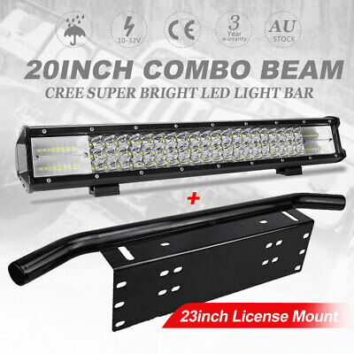 "20"" inch Triple Row LED Light Bar 23"" License Mount Bull Bar Number Plate Frame"