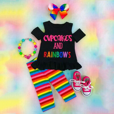USA Rainbow Kids Baby Girls Outfits Clothes Off Shoulder T-shirt Top + Pants Set