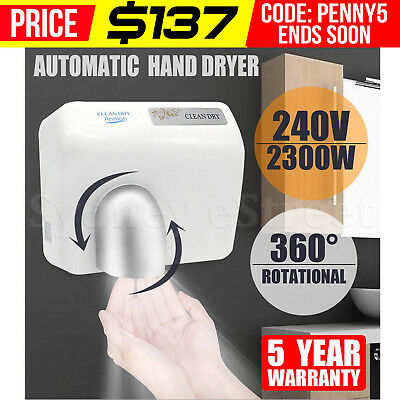 2300W Super Powerful Wall Mounted Automatic Hand Dryer Washroom 360° Rotational
