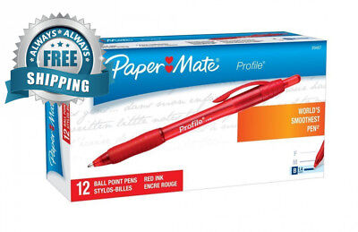 Paper Mate Profile Retractable Ballpoint Pens, Bold (1.4mm), Red, 12 Count