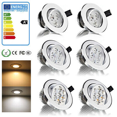 8x4x3W 5W 7W Dimmable Spot Encastrable LED Plafond Orientable métal chrome Chaud