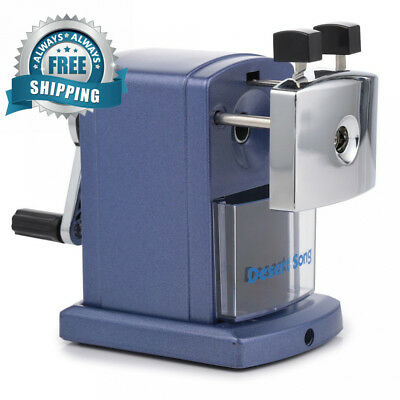 Manual Pencil Sharpener Heavy Duty with Desk Clamp, Metallic Blue, Quiet for...