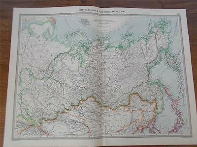 Antique c1904 Colour Map of ASIATIC RUSSIA & THE SIBERIAN RAILWAY Railwayana VGC