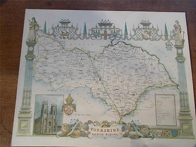 """Antique c18th North Riding Yorkshire colour MAP York Minster Reproduction 20x16"""""""