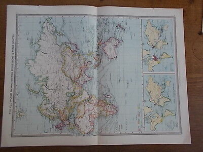 Antique c1904 colour map THE OLD WORLD HARMSWORTH UNIVERSAL ATLAS
