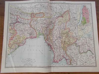 Antique c1904 Colour Map of THE BENGAL PROVINCES & BURMAH HARMSWORTH ATLAS