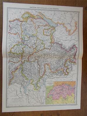 Antique c1904 colour map of EASTERN SWITZERLAND from HARMSWORTH ATLAS