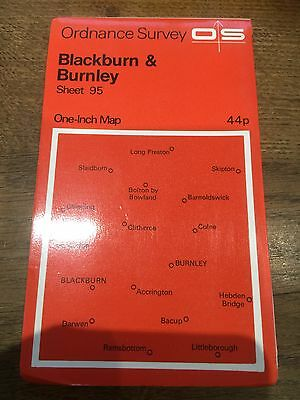 "1960s Old Vintage OS Ordnance Survey 1"" Map Sheet 95 Blackburn & Burnley"
