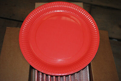 "Job Lot Box of 96 Coral Colour Disposable Paper Party Plates 9"" Dinner Size 23cm"