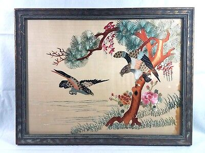 Antique 19th Century Chinese Silk Embroidery Birds Tree Eagle Flying Floral