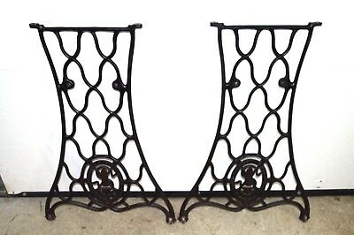 Antique Cast Iron Industrial Machine Singer Table Base Legs Victorian Steampunk