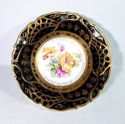 Antique 19th Century English Porcelain Bowl Black & Gold Rose Pattern