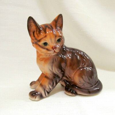 Cat Figurine Porcelain Brown Sitting ENESCO 1987 Taiwan 4 in