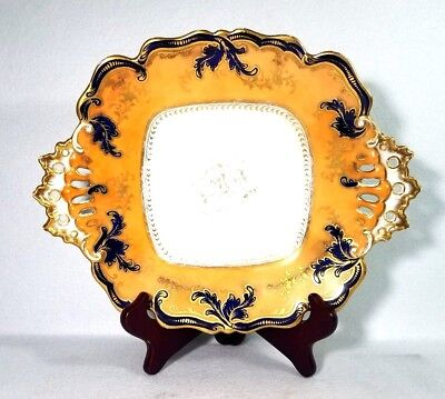 Antique 19th Century English Porcelain Footed Tray W/ Handle Platter