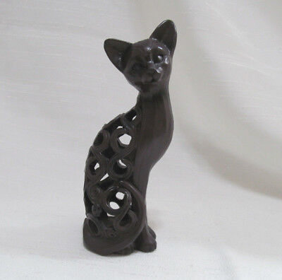 Cat Figurine Resin Sitting Brown Kitty Open Work  Egypt Cat 5 1/2 in