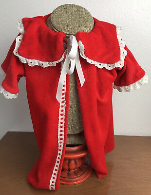 Vintage Toddler Girl Red Velour Robe with Lace Trim Hand Made Size 2T
