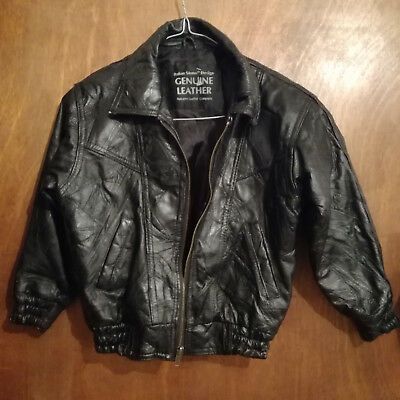 Vintage Kids Childrens Black Real Leather Patchwork Biker Bomber Jacket 34 Chest