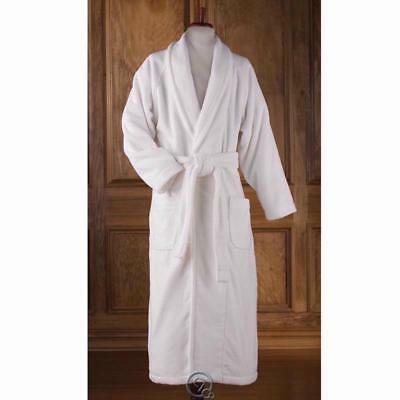 100% Turkish Cotton Bathrobe Shawl Collar Raglan Sleeves White XS: W 6-8 M 32-34
