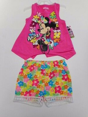 Toddler girls clothes Minnie Mouse Aloha Girls shirts Shorts Outfits 2pc set 4T