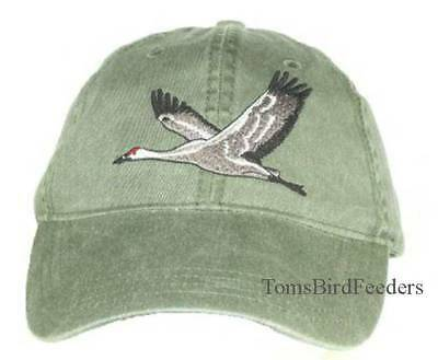 Sandhill Crane Embroidered Cotton Cap NEW Bird Hat