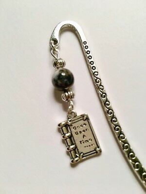 Once Upon A Time book charm & Tree Agate gemstone beads handmade bookmark