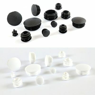 Round Plastic Blanking End Cap Pipe Tube Insert Plug Made in Germany/White Black