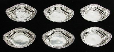 Gorham Sterling Silver Set Of 6 Reticulated Monogrammed Nut Dishes A4775