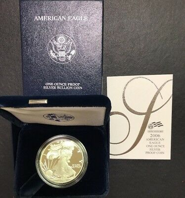 2006 W Proof Silver American Eagle Dollar US Mint Coin 999 OMP/COA