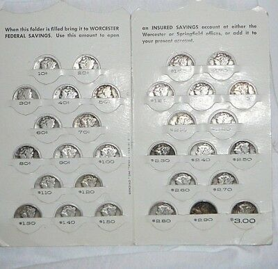 30 Silver Mercury Dimes with 1940's Bank Coin Folder Free Ship