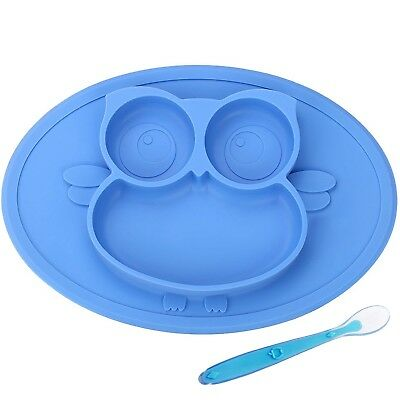 Blue Owl Premium Food-Grade BPA Free Silicone Baby Feeding Placemat and Spoon