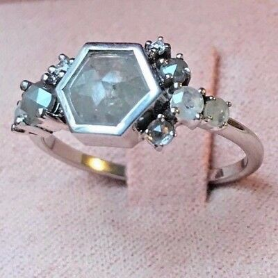 Vintage and handmade rose cut grey cluster diamond engagement ring