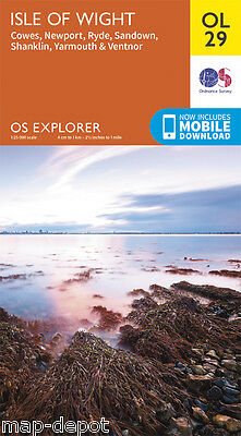 ISLE OF WIGHT EXPLORER Map - OL 29 - OS - Ordnance Survey - inc. MOBILE DOWNLOAD