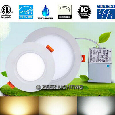 """4""""9W/6.5""""16W/8""""18W LED Recessed Panel Down Light Fixture+Junction Box ETL Listed"""