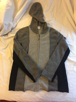 Vince 100% cashmere hoodie maternity pea in the pod tri-color grays