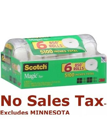"""Scotch Magic Tape with Refillable Dispenser - 3/4 x 850""""- 6 Rolls FREE SHIPPING"""