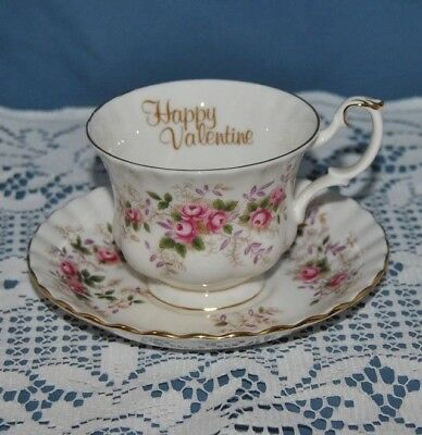 """Beautiful Royal Albert, Lavender Rose """"HAPPY VALENTINE""""  Tea Cup and Saucer"""