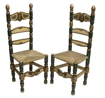 (Pair) Spanish Parcel Gilt Painted Side Chairs