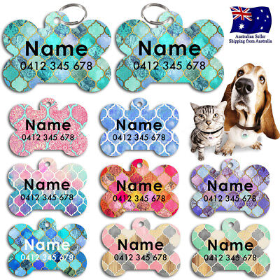Metal Personalized Pet cat dog Tag Stripes Key ring Name Tags Moroccan Pattern