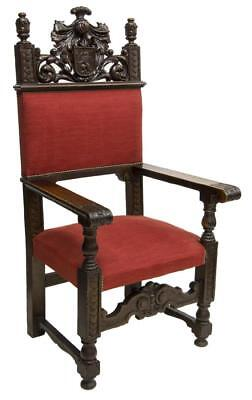 GORGEOUS SPANISH RENAISSANCE REVIVAL OAK THRONE ARMCHAIR, 19th century ( 1800s )