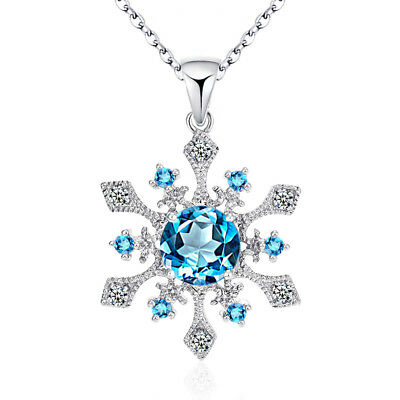 Fashion 925 Sterling Silver Snowflake Blue Crystal Pendant Necklace Chain Box 18