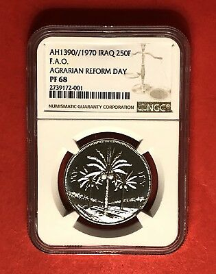 Iraq-Ah1390(Ad 1970)250 Fils Silver Proof Coin -Agrarian Reform Day,ngc  Pf68.