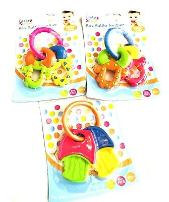 First Steps Baby Key Rattle Toy Babies Key Rattle Teether Fun Play Various