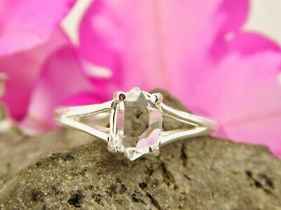SIZE 6 AAA+ GRADE 6x8 mm NY Herkimer Diamond Crystal Sterling Silver RING T38