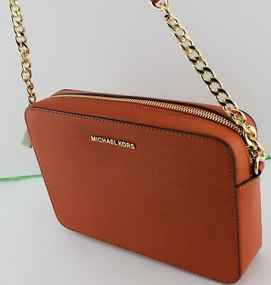 6d060d50aee4 New Authentic Michael Kors Jet Set Travel Orange Handbag Lg Large Ew  Crossbody